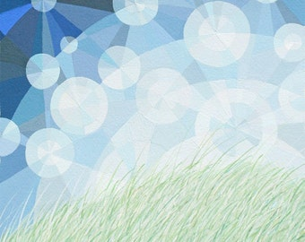 I'll Meet you There art print, geometric art, sunlight particles, sky sparkles, grassy field