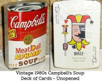 Campbell's Soup Playing Cards. 1980s. Meatball Alphabet Soup. Factory Sealed. Hoyle Fun!