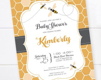 Baby Shower Invitation, Bee Baby Shower, Bee and Honey Comb, Bumble Bee Baby Shower Invitation Beehive Invitation DIGITAL PRINTABLE FILE