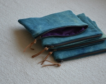 Turquoise makeup bag zip pouch blue green hand dyed natural organic hemp canvas bag minimalist waterproof wash shower dopp travel his hers