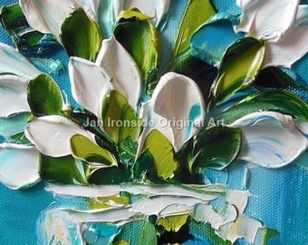 Tulip painting, Original Oil Painting  white Tulips, Palette Knife, Art, wall decor
