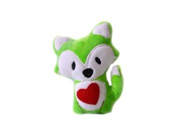 Stuffed Fox | Green Plush Fox | Kawaii Plush | Woodland Animal |  Stuffed Fox Plush | Fox Nursery Decor | Rainbow Fox | Fox Plushie