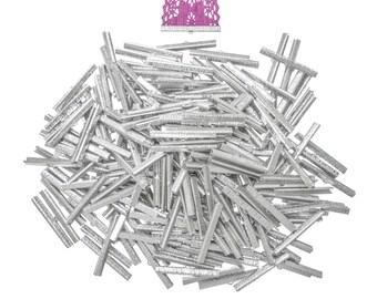 500pcs.  50mm  (2 inch)  Platinum Silver Ribbon Clamp End Crimps - Artisan Series