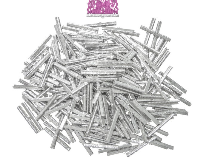 500 pieces  50mm  (2 inch)  Platinum Silver Ribbon Clamp End Crimps - Artisan Series
