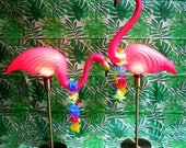 Pink Flamingo Lamp PAIR Midcentury 1960's Lawn Ornament Camper RV Retro Decor Novelty Desk Lamp