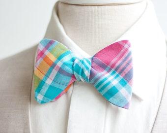 Bow Ties, Bow Tie, Bowties, Mens Bow Ties, Freestyle Bow Ties, Self-Tie Bow Ties, Groomsmen Bow Ties, Plaid - Aqua, Pink, Yellow Plaid
