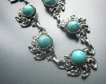Vintage Turquoise Colored Cabochons Metal Necklace