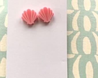 Perspex sea shell stud earrings