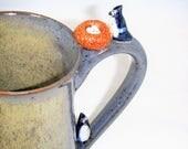 Custom Order Bird Mug Blue Jay Brown Nest Three Eggs Gray Cup