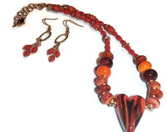 Lampwork Beads and Heart Necklace Earrings Set Brilliant Orange Orange and Caramel Brown Necklace