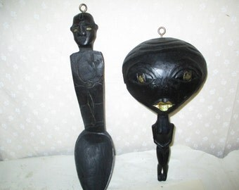 Carved Spoon  African Black People Spoons  2 items