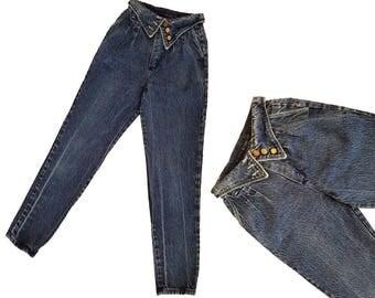 Vintage Denim Jeans 80s High Waisted Jeans Fold Over Jeans Dark ACID WASH Jeans Harem Jeans Fold Over Waist Taper Leg Jeans Mom Jeans 26 W