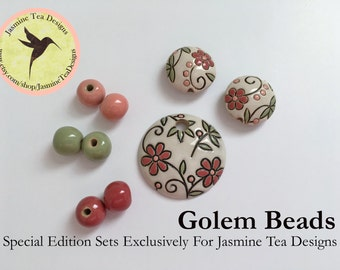 Textile Flower Pattern Pendant With Coordinating Accent Beads In Sage Green, Coral And Vintage Rose,  Beads For Kumihimo, Large Hole Beads