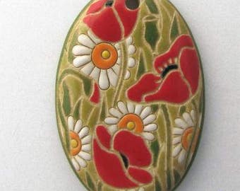 Large Oval White Daisy And Red Poppy Pendant, Light Green Background, Focal Bead, Pendant Bead, Golem Design Studio