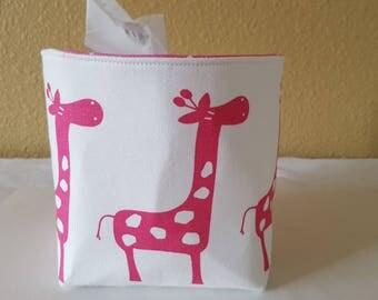Mini Baskets Fabric Storage Organizer Bins - Ele - Pink Giraffe Holder - Tissue Holder