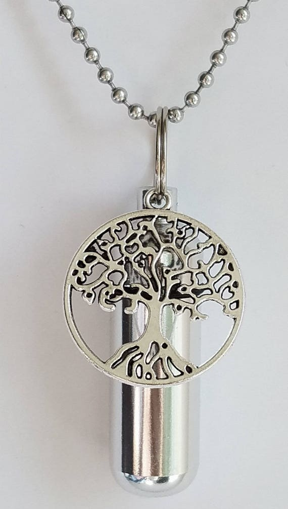 Personal CREMATION URN NECKLACE with Large 3D Tree Of Life - Includes Velvet Pouch, Ball Chain, Fill Kit