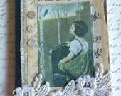 SPECIAL SALE PRICE Music Themed Handmade Pocket Journal Featuring Vintage Photo of Child Looking at Bird