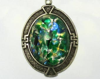 Green Opal Vintage Glass Cabochon Pendant in Antique Silver setting