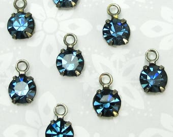 Swarovski Crystal rhinestones 10 pcs 6 mm Montana Blue in antique silver setting bg One Loop