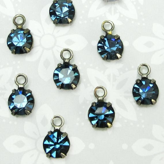Swarovski Crystal rhinestones 10 pcs 6 mm Montana Blue in antique silver setting bg One Loop