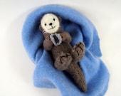 sea otter, waldorf toy, stuffed animal, stuffed toy, wool felt toy, otter toy, waldorf animal, sea animal,