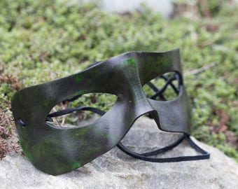 Super Hero Leather Masquerade Mask, Green and Black Leather Mask