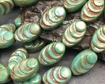 13x08mm Cocoon Czech Glass Beads GN. Green Turquoise & Picasso
