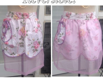 Vintage lavender purple, pink, and green floral reversible apron.