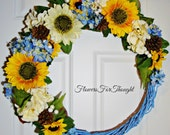 Sunflower Wreath Blue Grapevine, Front Door Decoration, Hydrangea and Lilac, Spring Summer Fall Flowers, Home Decor