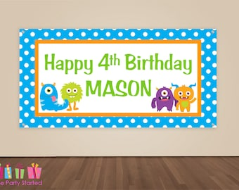 HAPPY BIRTHDAY Banner, Monster Birthday Decoration, Lil Monster Party Backdrop, Birthday Party Banner, Boys Birthday Party, Vinyl Banner