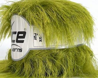 ICE YARNS Faux Fur Olive Green 100gr 54yrds eyelash type yarn knitting crochet polyamide polyester bulky chunky 43506