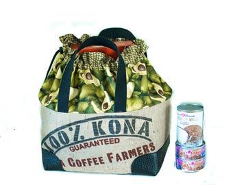 Market Tote with Cinch Top - Kona Coffee Farmers - Burlap Farmers Market Bag