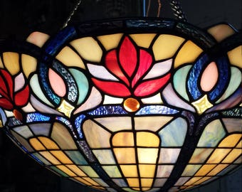 Tiffany Style Pendant Lamp, Dining Room Lamp, Leaded Glass Lamp