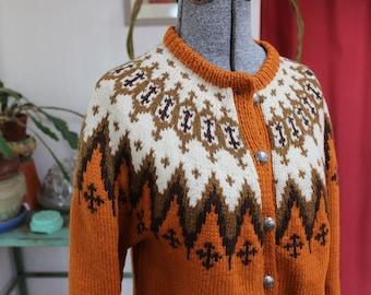 Wool Sweater Norway Cardigan by Saga Knit Size Small Burnt Orange Fair Isle VINTAGE by Plantdreaming