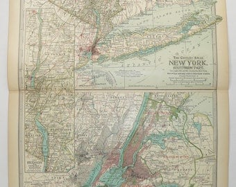 New York City Map Long Island 1899 Antique Map, Hudson River Map, Catskill Mountains, Vintage Map NYC Art Map, Travel Gift for Couple