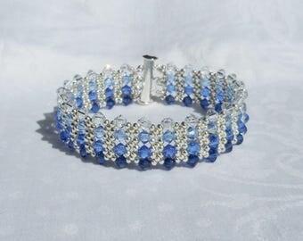 Blue Tone Swarovski Crystal Bracelet, Woven Bracelet, Weaving Bracelet,Crystal Bracelet,Blue Bracelet,Sapphire Bracelet.