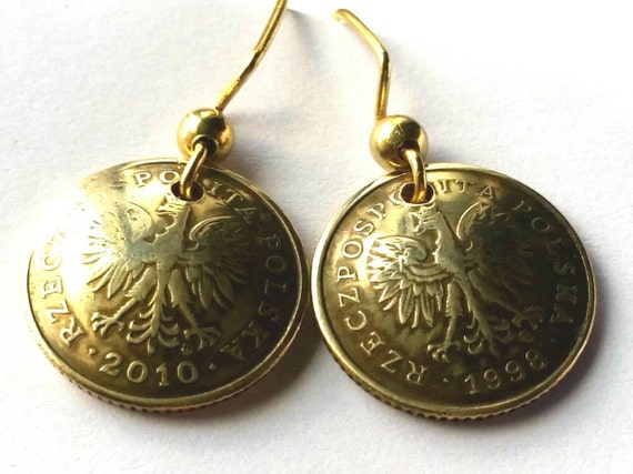 Poland Coin Earrings Gold Colored Jewelry Birthday Gift for Her Christmas Gift for Her Polish Eagle Coin Earrings