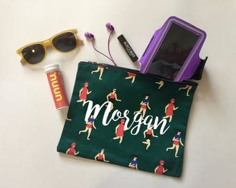 FREE SHIPPING Personalized Runner makeup bag | Gym pouch | Gift for her | Clutch | zippered bag | Run | Marathon | Running | track and field