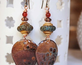 Earthy Enamel Earrings, Brown Gypsy Earrings, Boho Chic Earrings, Rustic Teardrop Earrings, Artisan Enamel, Lampwork Glass Bead Earrings,