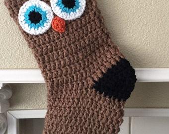Crochet Owl Christmas Stocking
