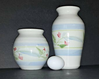 Set of 2 Art Pottery Vases with Flowers / Pair of Stoneware Vases with Blue Green Stripes & Pink Flowers / Something Old / Something Blue