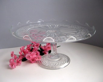 Vintage crystal glass cake stand Clear glass cake stand Scallop edge cake server