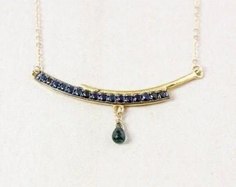 VALENTINE SALE Gold Black Spinel Bar Necklace - Green Tourmaline - Bar Pendant