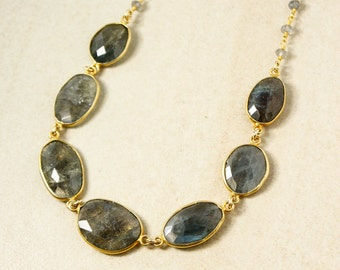 Blue Labradorite Bib Necklace - Gemstone Bib Necklace - Labradorite Chain