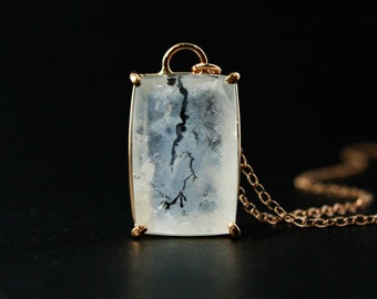 Cloudy White Dendritic Quartz Necklace - White Dendrite Pendant