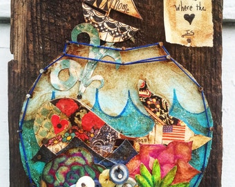 A Whale in a Fish Bowl Mixed Media Art