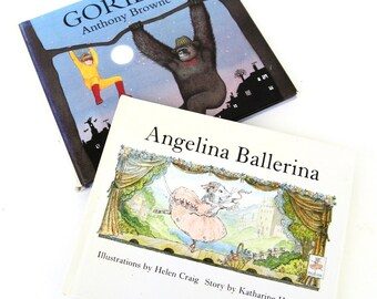 two miniature books.  angelina ballerina.   gorilla.   tiny book collection.   small library.