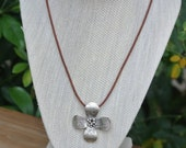 75% OFF SALE Artisan Pewter Flower Leather Necklace