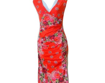 Jean Paul Gaultier - Dress - Wiggle - Orange - Floral - Fruit - Criss Cross - V Neck - Pullover - Sleeveless - Wedding - Size Extra Small