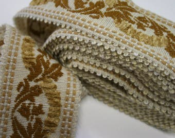 Vintage Upholstery Trim Floral Design Raised Chenille Effect 4 Meters Mocha Coffee